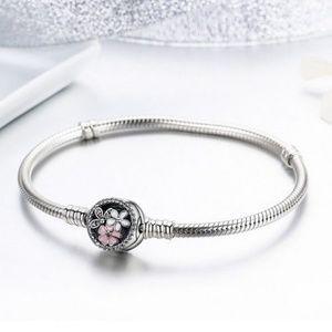 Platinum Filled Silver Snake Chain Charm Bracelet